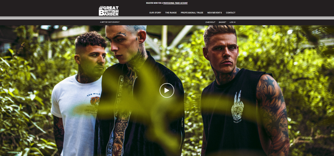 Great British Barber website homepage
